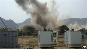 A huge explosion near a United Nations compound in South Kordofan state, Tuesday, June 14, 2011.