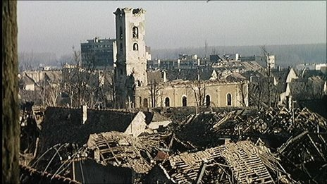 Vukovar town after heavy shelling during Croatia's war of independence, 1 January 1991