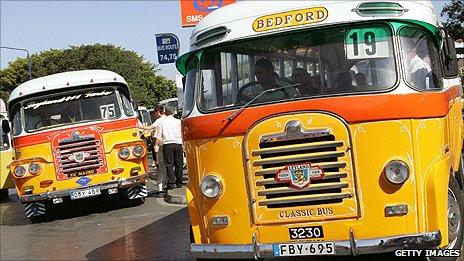Vintage buses in Malta