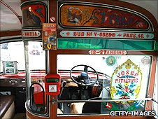 Interior of vintage bus
