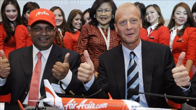 Airbus chief executive officer Tom Enders and founder of AirAsia Tony Fernandes