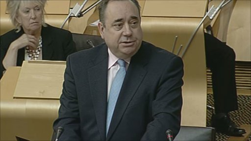 First Minister Alex Salmond addresses MSPs during First minister's questions