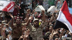 Celebrations in Sanaa after President Saleh left Yemen (6 June 2011)