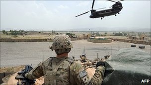 US soldier at an outpost in Afghanistan (file pic)