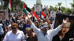 Pro-Assad rally in Damascus on 21 June