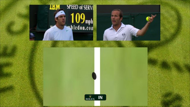 Juan Martin del Potro and Olivier Rochus respond to a Hawk Eye decision