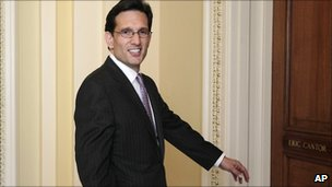 Republican House Majority Leader Eric Cantor returns to his office in the Capitol on 23 June 2011