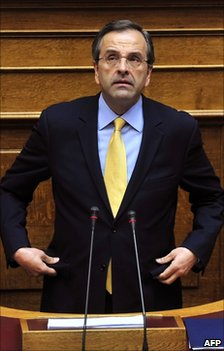 Greek opposition leader Antonis Samaras at the Greek parliament, 19 June