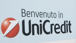 Unicredit bank sign
