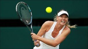 Russian tennis player Maria Sharapova in action at Wimbledon