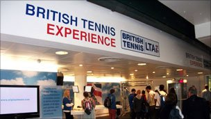 LTA tennis stand at Wimbledon