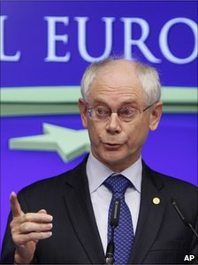 European Council President Herman Van Rompuy speaks to reporters in Brussels, 24 June