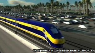 A rendering of what the new California rail system will look like