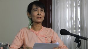 Aung San Suu Kyi recording the Reith Lectures in Rangoon, Burma