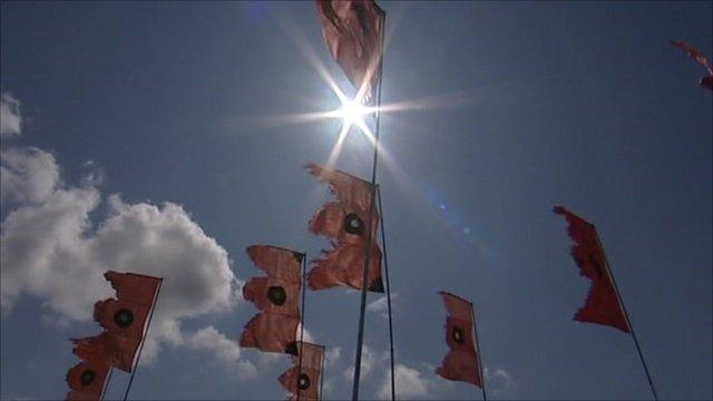Flags flying at Glastonbury