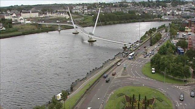 Aerial shot of Derry's 'peace bridge'