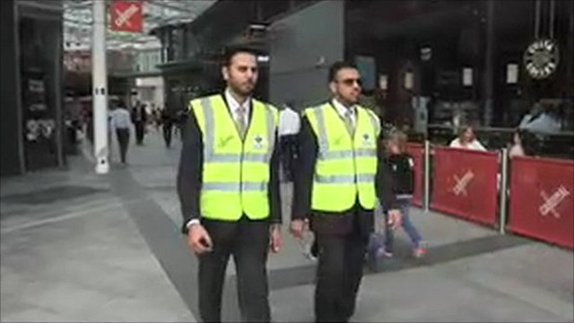 Private accredited security guards on patrol in London Victoria