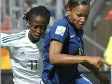 France's Marie-Laure Delie (right) in action against Nigeria's Glory Iroka