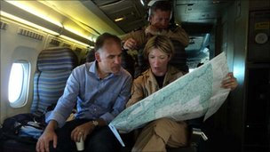 Jonathan Beale looks at maps with RAF officers