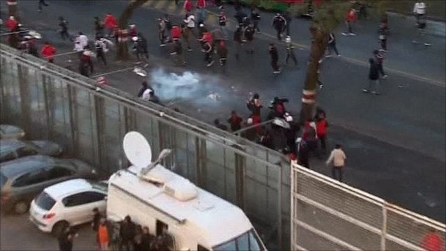 Tear gas being used in clashes in Buenos Aires