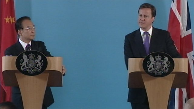 David Cameron and Chinese Premier Wen Jiabao