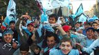 Supporters of Belgrano celebrate promotion to first division in Cordoba, 26 June 2011