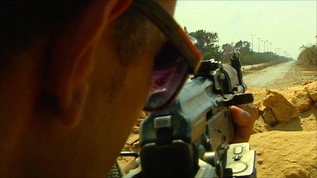 Libyan rebel on outskirts of Misrata