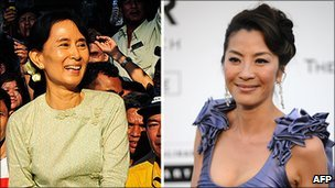 Burmese pro-democracy leader Aung San Suu Kyi (L) and actress Michelle Yeoh