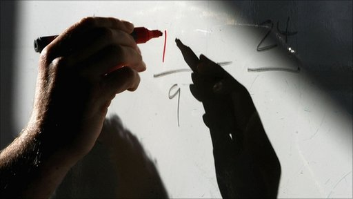 Person writing maths equation on black board