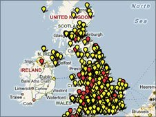 The School Report map linking to school websites