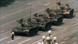 Student protester stops Chinese tanks near Tiananmen Square, 5 June 1989