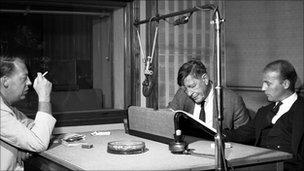 Henze, Auden & Kallman in a BBC studio