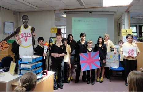 Students from Tomlinscote School present their Olympic Dreams about basketball star Luol Deng