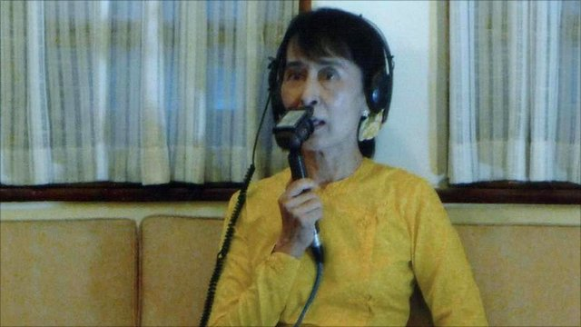 Aung San Suu Kyi joins the Reith Lectures audience via a satellite link from Burma