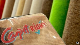 Carpetright logo and carpets