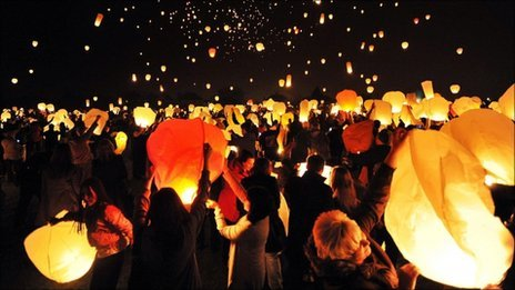 People launching sky lanterns