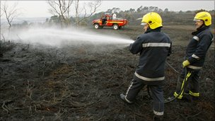 Fire on heath in Dorset