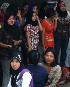 Migrant workers at training centre in JakartA