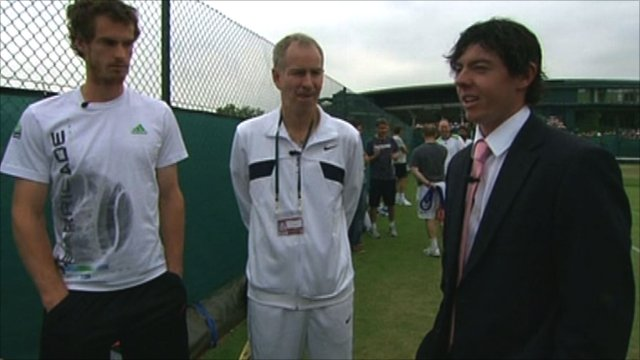 Andy Murray (left) with John McEnroe and Rory McIlroy (left)