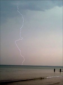 Lightning strike off the coast of Bognor Regis