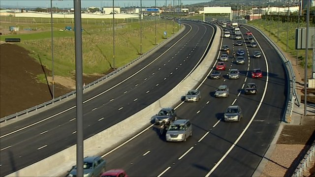 Traffic on the new M74 extension