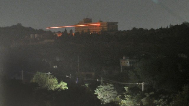 Tracer rounds fired during attack on the Intercontinental Hotel in Kabul (28 June 2011)