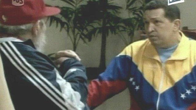 Cuba's President Fidel Castro and Venezuela's President Hugo Chavez