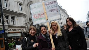 Demonstrators against the coalition government's spending cuts march in London on Saturday 26 March