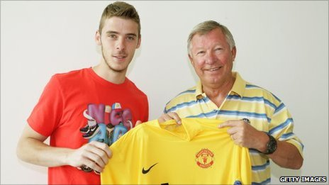 David de Gea with Sir Alex Ferguson