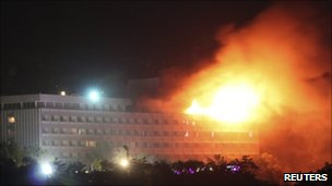 Intercontinental Hotel in Kabul on fire