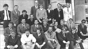Holness with Radio 1 DJs in 1967