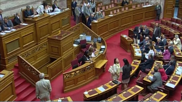 Inside the Greek parliament