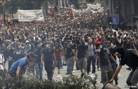 Demonstrators in Greece