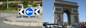 A British roundabout and the rotary at the Arc de Triomphe
